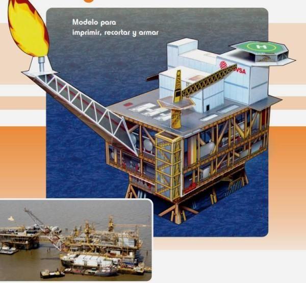 """PAPERMAU: Venezuelan Oil Rig """"Dragon"""" Paper Model"""