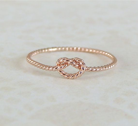 Rose Gold Ring Knot Ring Love Knot Ring Gold Memory by Luxuring