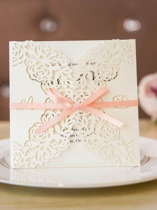 funny wedding invitation rsvp goes viral%0A elegant ivory laser cut wedding invites with pink band SWWS