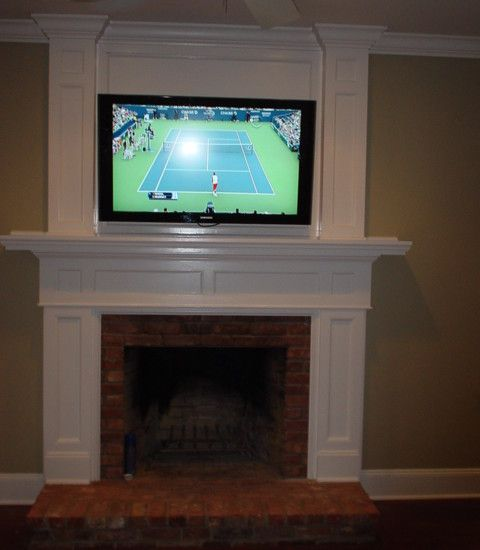 tv over fireplace mount fireplace pinterest. Black Bedroom Furniture Sets. Home Design Ideas