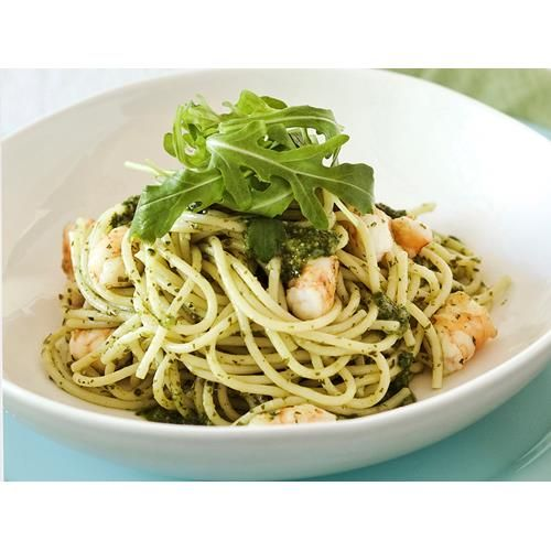 Spaghetti with prawns and salsa verde recipe - By Madison, Spaghetti is cooked to perfection and tossed with a flavoursome homemade salsa verde and juicy prawns. This delicious pasta dish is the perfect dinner to delight your guests any time of year.