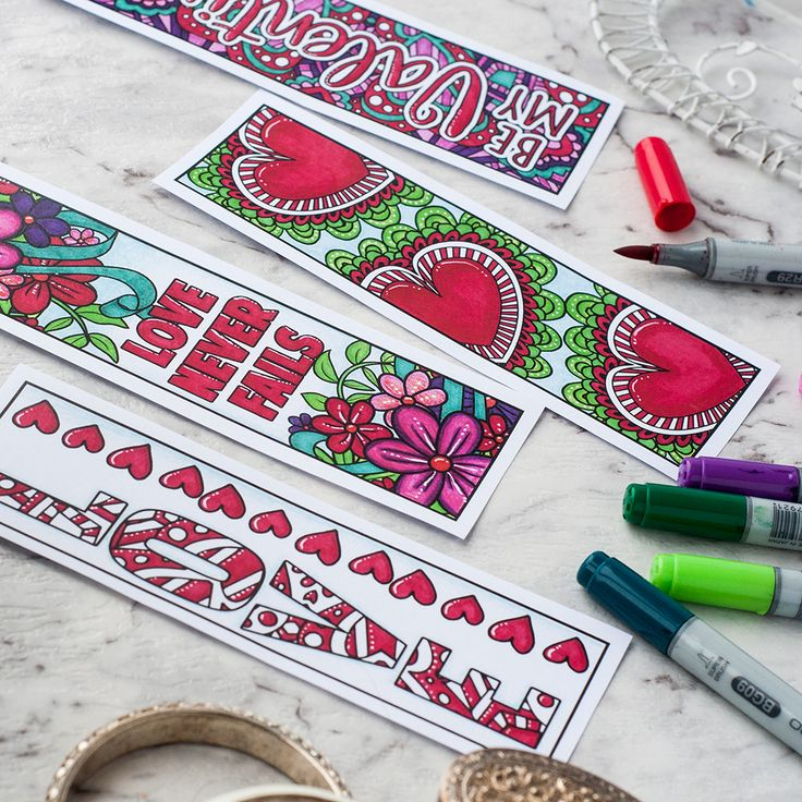 Valentine's Day Printable Bookmarks  Find more Valentine's coloring page craft templates at www.sarahrenaeclark.com   Valentine's Day Craft, DIY Valentine's Day, Valentine's Day activity, DIY craft, free craft template, printable coloring pages