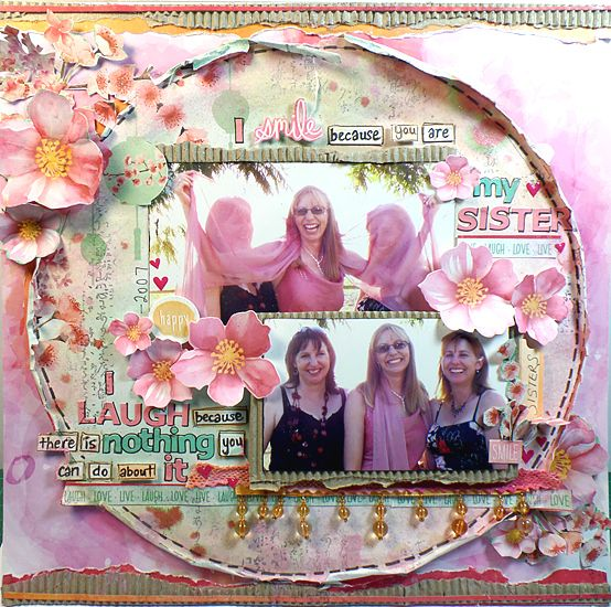 """My-Sister"" Layout by Michelle Grant DT Kaisercraft ""Cherry Blossom"" Collection - Wendy Schultz ~ Scrapbook Pages 1."