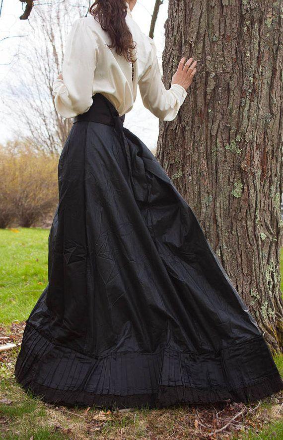1800s Black Wedding Skirt - Silk Floor Length Gown LARGE LG