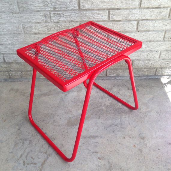 Small Patio Table End Side Red Metal Petite Stand Bench