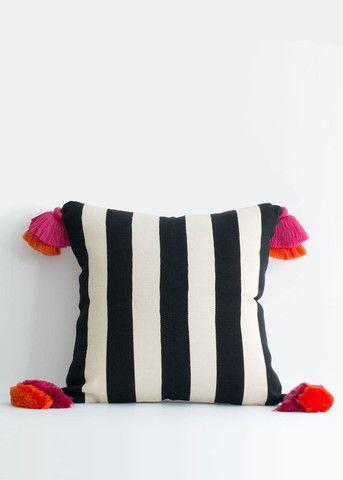 País Textil Stripe Pom Pom Pillow | MINZUU