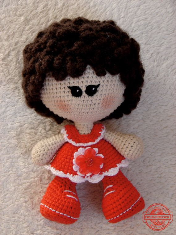 DOLL handmade crochetdoll crochetbrown haircurly by KrugerShop
