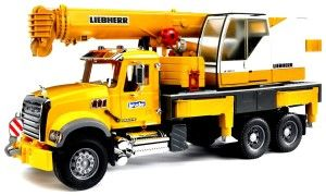 Bruder Mack Granite Liebherr Crane Truck I Highly recommend this toy for any little boy. The truck is a highly accurate model. Right down to the counterweights.  The materials are thick and have put up with some rough play for a while.  http://bit.ly/1ECAVOd