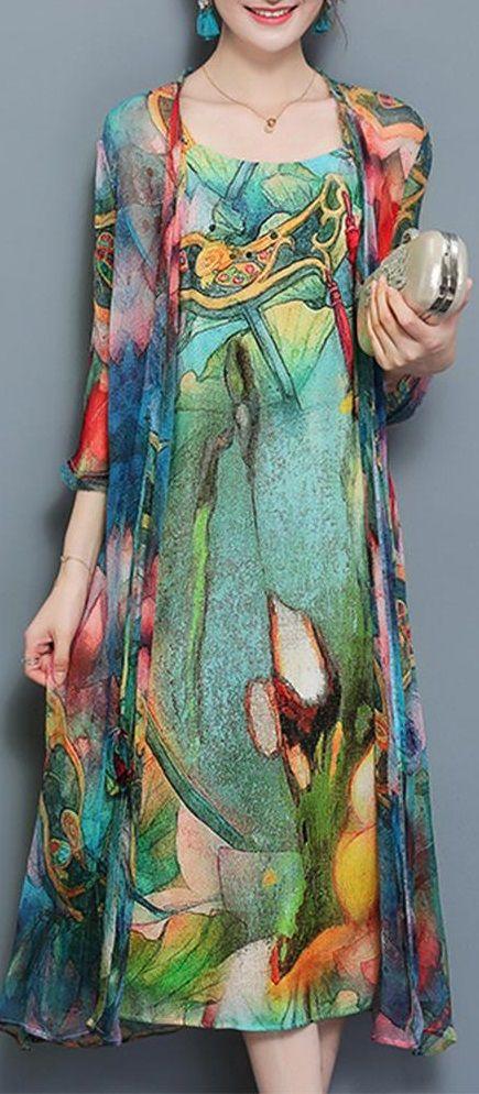 b620cc604d2 Women 3 4 Sleeve Two Pieces Set Straps Elegant Printed Plus size ...