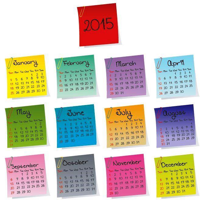 Catatan tempel 2015 vektor kalender Desain Unik Jpg Template cetak Download