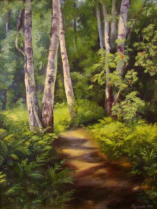 #Birchtrees, #forest, #path, #pathway, #green, #mountainash, #landscape, #picture, #summer, #happiness, #air, #fern, #happiness, #joy, #morning, #russianartist, #russianart, #annashurakova, #print
