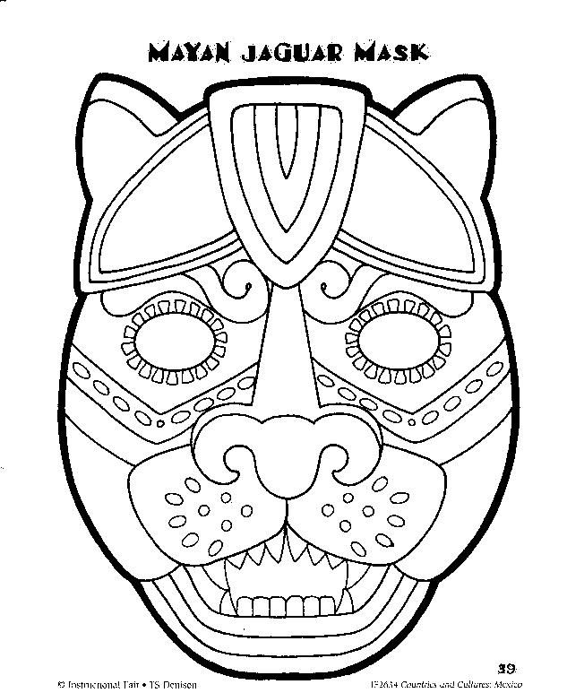 Masks of Mexico to Color | Temple of the Jaguar at the Mayan Ruins in Tikal, Guatemala.