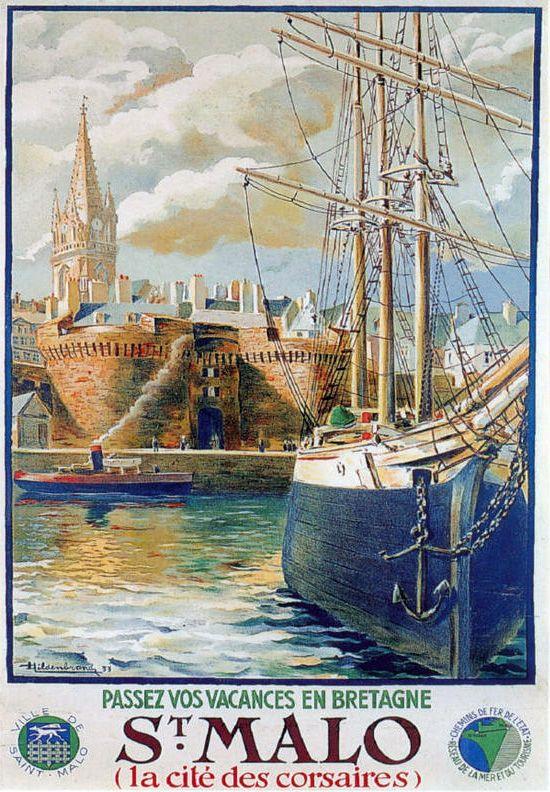 Passez vos vacances en Bretagne, Saint-Malo, la cité des corsaires. Ille et Vilaine. Un trois-mâts à quai dans le port sous les fortifications de la ville.