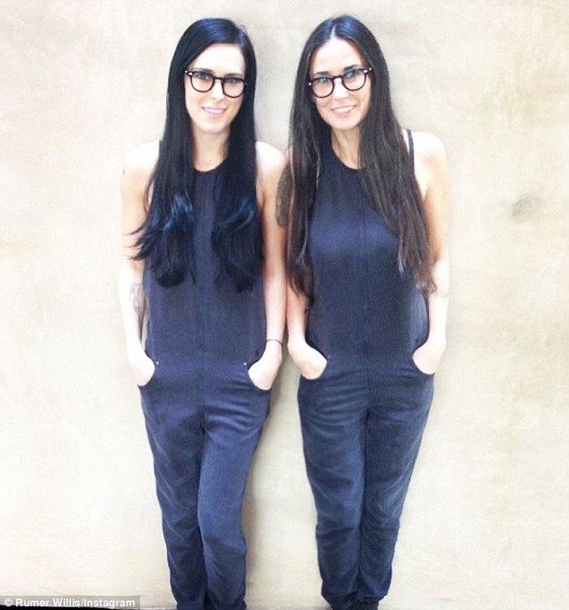 Twinning: Demi Moore, 52, shared a snap with 26-year-old Rumer as the duo looked almost identical in matching outfits