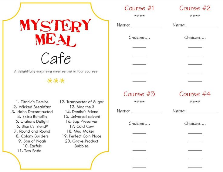 mystery dinner menus | Make a Memory {Mystery Dinner}