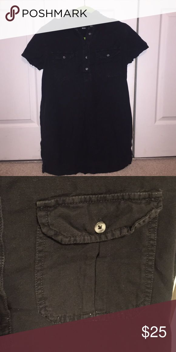 Black military dress I loved this dress. It has been worn but the only signs of that is the slight pilling near the sleeves and front right pocket shown in the second photo. Urban Outfitters Dresses