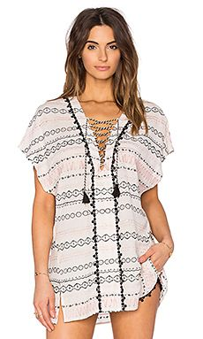 Gypsy 05 Cameo Embroidered Lace Up Tunic in Ivory