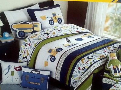 Boy Zone Twin Construction Quilt Bedding 6pc Set Cotton W