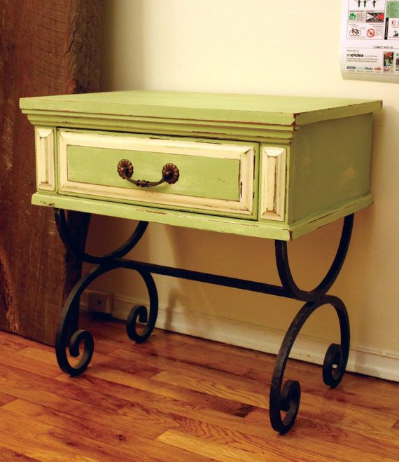 Side Table / Night Stand by IronAndWoodside on Etsy  It looks like its a drawer from a cabinet- totally an upcycle!