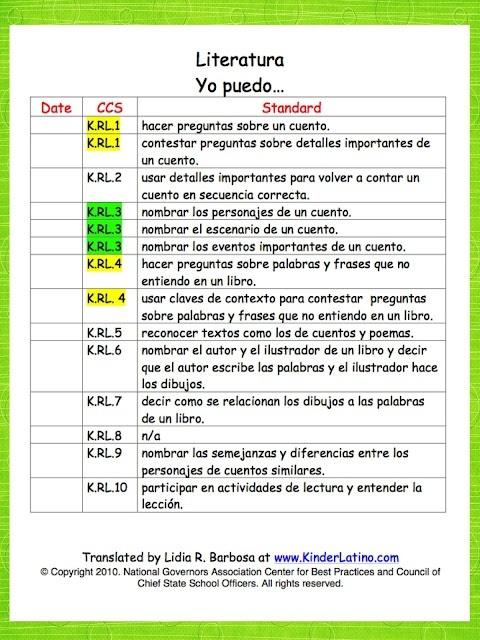 Classroom Freebies: Spanish Common Core Standards