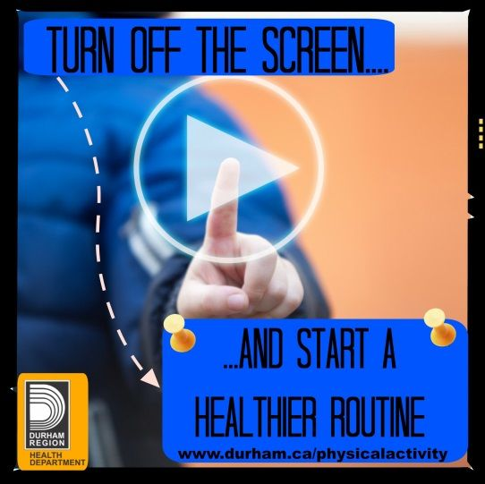 Did you know that while screen time recommendations vary slightly for different age groups, no matter how old your child(ren) are, it is agreed that less is best! Parents play a major role in supporting healthy behaviours and providing children opportunities for healthy active living. Work with your family to shut down the screens and start new active routines!