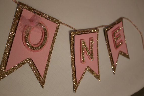 Pink & GOLD birthday party banner Garland First by PoshMyParty, $18.00