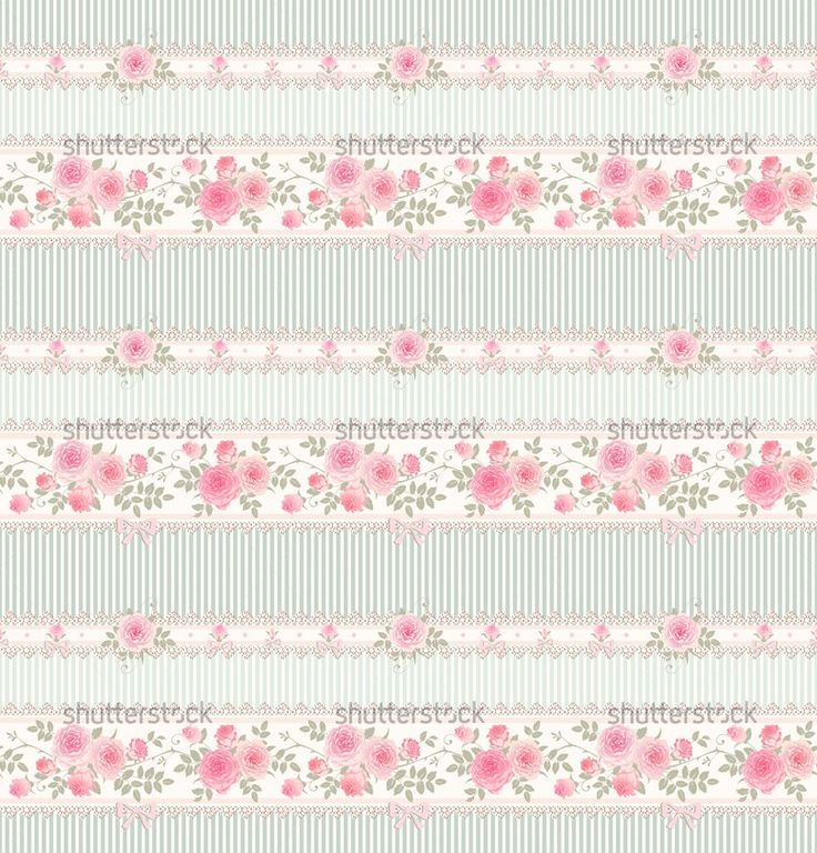 Seamless floral background Vector striped pattern with lace, bows ...