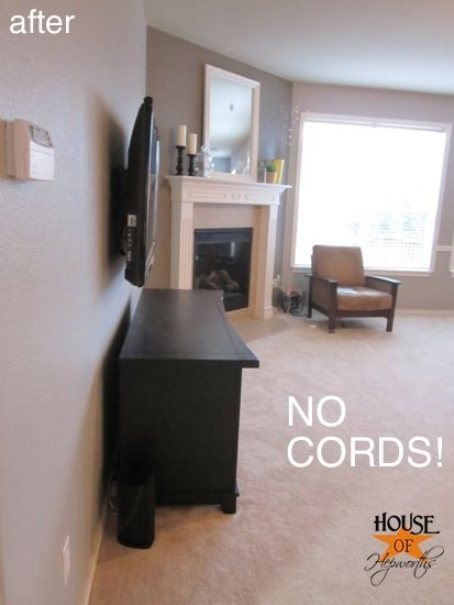 Mounting your TV so that no cords hang down the wall. Seriously did not know it was that easy!: Remember This, Tv Mount, Wall Tv Ideas, Hanging Organizations, Mount Tv, Cords Hanging, How To Hiding Tv Cords, Tv Wall Mount, How To Hiding Cable