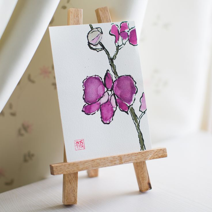 orchid, flower, flowers, sumi-e, ink painting, chinese ink painting, postcard, etegami, handmade postcard, hand drawn postcard, watercolor, gansai color