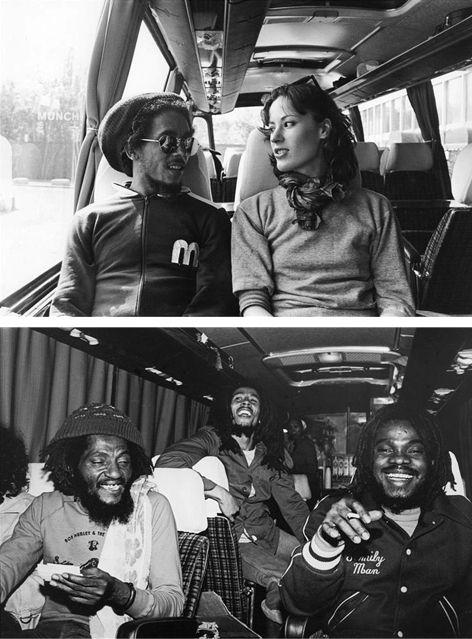"Bob Marley (Exodus tour bus, 1977). Top: Bob Marley with Kate Simon. Bottom: Bob Marley with Alvin ""Seeco"" Patterson and Aston ""Family Man"" Barrett."