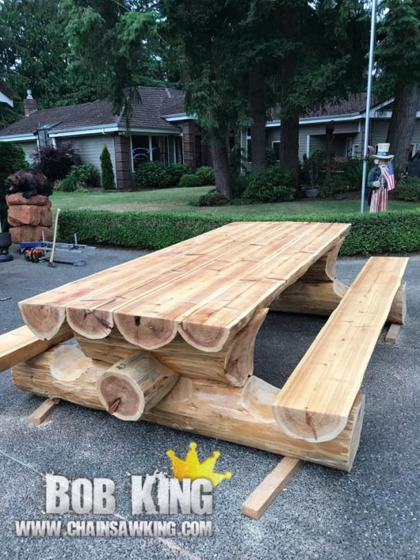 Log Picnic Bench By Bob King Www Chainsawking Com Https Ift Tt 2nsz2ku Rusticlogfurnitureunique Woo Rustic Log Furniture Log Furniture Wood Furniture Plans