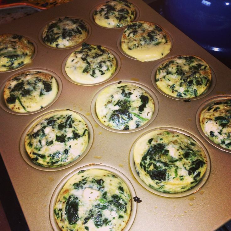 spinach, feta, and egg white muffin/quiche. would be good with just spinach and mushrooms, too.