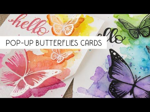 Pop up butterflies cards using MISTI and Distress inks - YouTube
