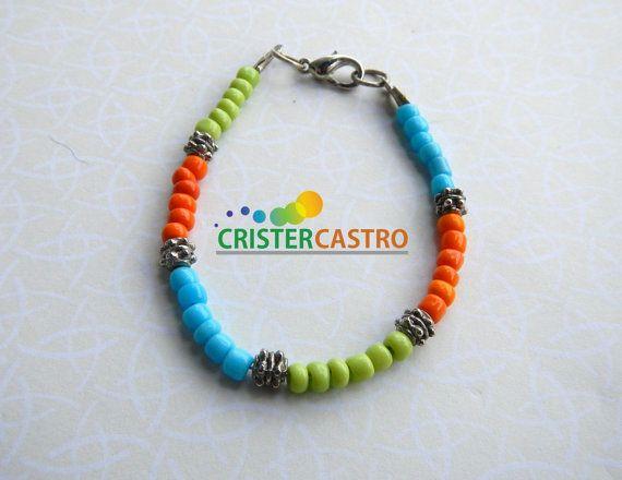 Bracelet Tricolor  light blue orange and light by cristhercastro, $2.99