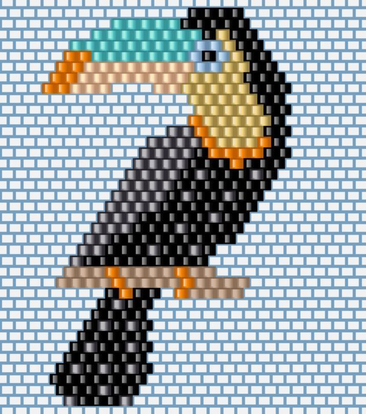 Après la version 2016 du toucan (qui s'est envolé vers l'Auvergne), j'ai voulu m'en tisser un nouveau. Même si j'aimais beaucoup le premier modèle, j'ai bidouillé une nouvelle grille que vous retrouverez un peu plus bas. Pour les novices, je vous renvoie...