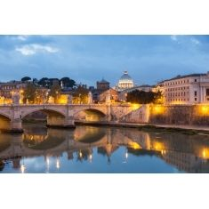 Vatikan, Blick über den Tiber zum Petersdom, Rom, Fotograf: G. Hänel #Merian #Fototapete #Tiber #Petersdom #Rom #Italien #Hänel #MerianBildservice