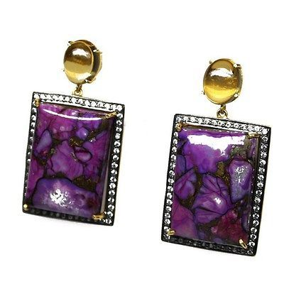 FREE SHIPPING 925 STERLING SILVER PINK COPPER TURQUOISE AND CITRINE EARRING