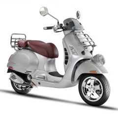 The Vespa GTV 300 ie comes in metallic gray with a burgundy leather seat; ABS breaking with ASR traction control.  It also allows smartphone connectivity.