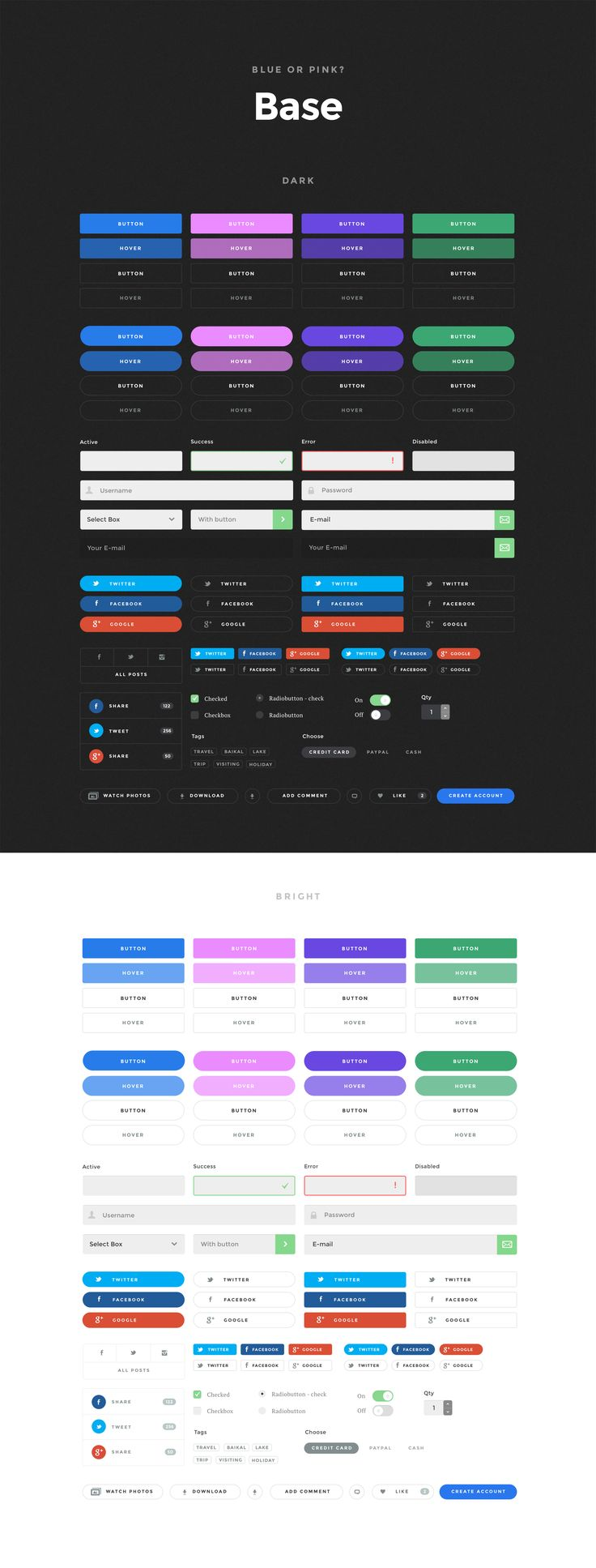 A deliciously crafted component based UI Kit with hundreds of components across 10 content categories for just $58. Simple and stylish set comes in .PSD and .Sketch formats.