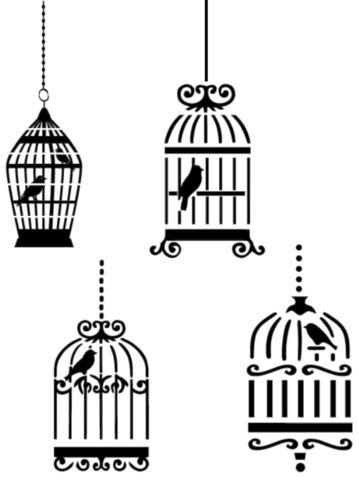 Stencil Bird Cages