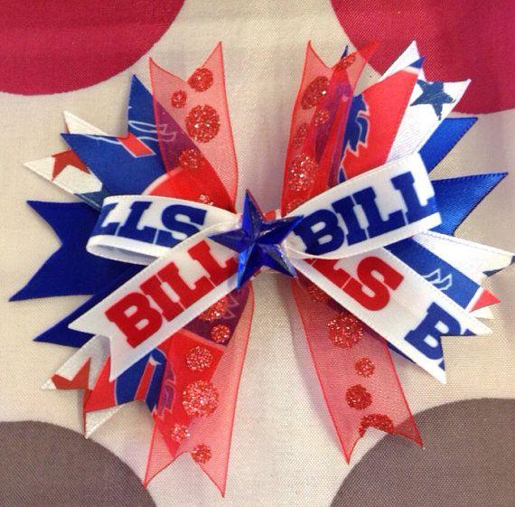 NFL Buffalo Bills Football Hair Bow Clip by RibbonsandBowsRK