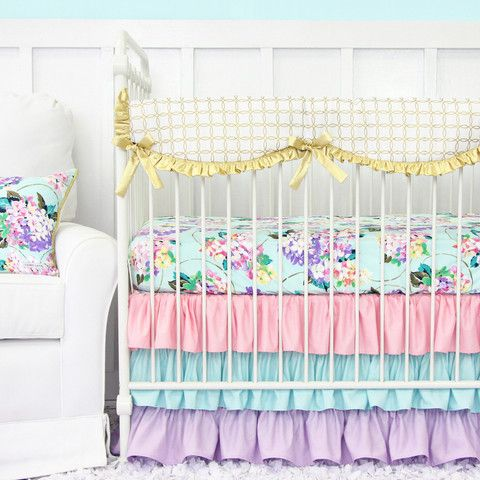 Holly's Hydrangea Ruffle Baby Bedding ... - Jack and Jill Boutique