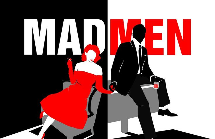 This image of the popular television show, Mad Men, creates a fantastic contrast. The boss in black and the secretary in red placed in front of black, white and red backgrounds then divided in to two parts displays near perfect contrast.