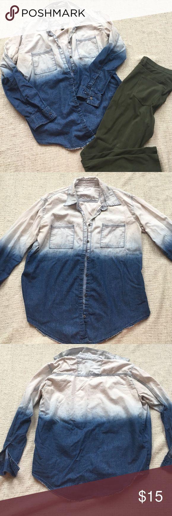 Chambray dip dye shirt Garage dip dye oversized chambray shirt Garage Tops Button Down Shirts