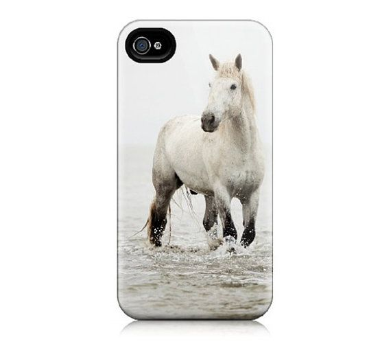 Iphone case for iphone 4 iphone 4s white horse photograph nature photography modern - Deksel x ...