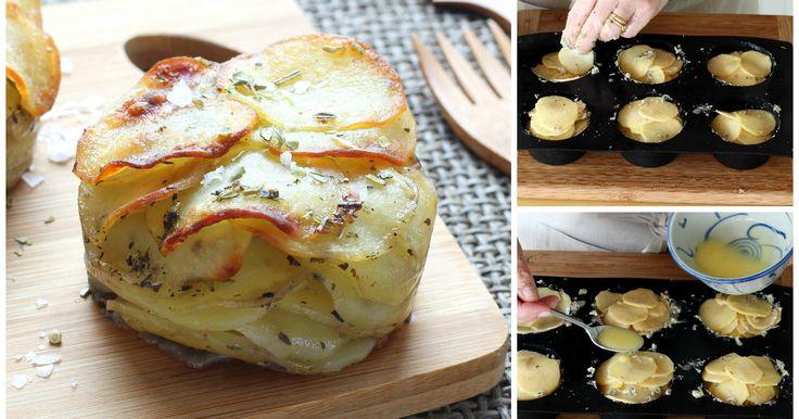 Mini Mille Feuilles: Kleine Aufläufe mit zart-knusprigen Kartoffelscheiben
