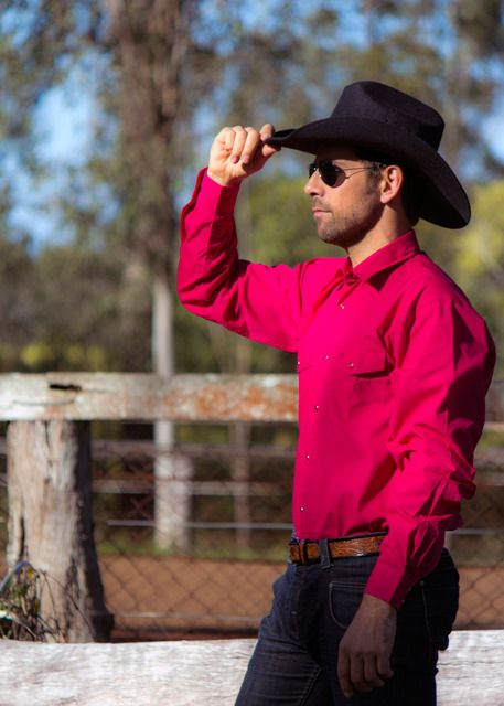Mens Workwear Long Sleeve Shirt | Western Half Placket Shirt