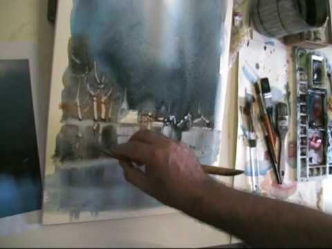 Momenti di una lezione di acquerello del Maestro A. Gorlini a feltre 2009