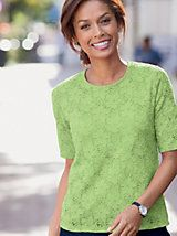 Elbow Sleeve Knit Lace Tee and other Womens Tank at Appleseed?s. | Appleseeds
