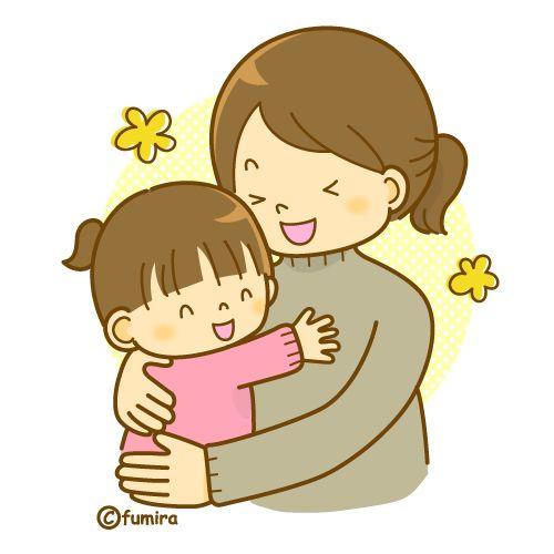 幼児を抱きしめるママのイラスト(ソフト)| 赤ちゃん、マタニティ、妊婦さんや家族のイラスト素材
